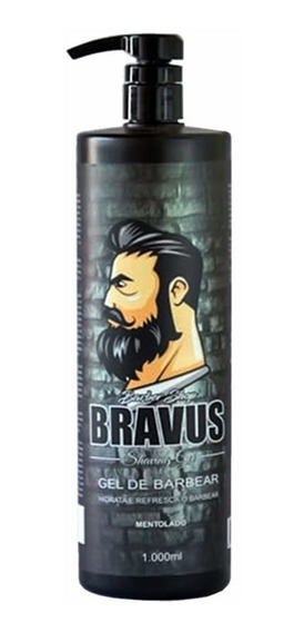 Shaving Gel De Barbear Bravus 1 Litro Menthol Pote Econômico