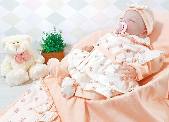 Saída De Maternidade Tiffany Salmão C/ Floral - Para Meninas