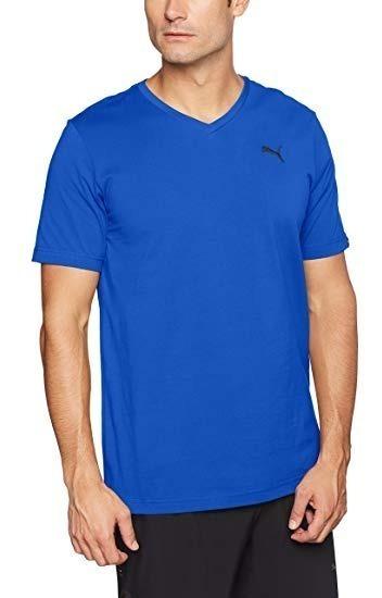 Playera Puma Hombre Azul Ess V Neck Tee 85108205