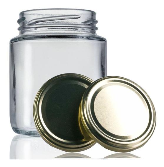 48 Potes De Vidro Belém 240 Ml Com Tampa Dourada + Lacre