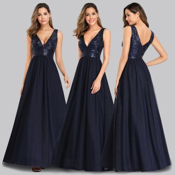 Elegante Vestido Largo Color Azul Importado