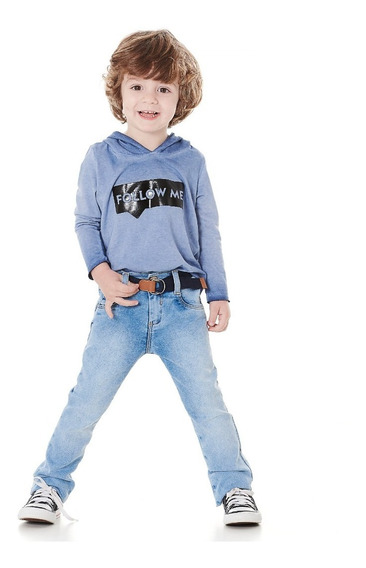 Calça Jeans Com Elastano Menino C/cinto - Tam.1-2-3