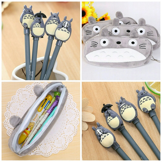 Kit Escolar 1 Estojo Totoro + 4 Canetas Totoro Kawaii Fofos