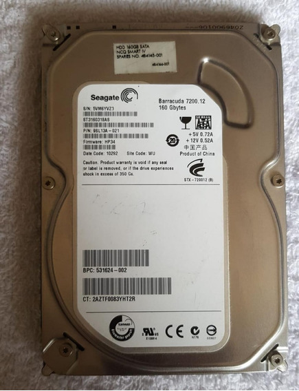 Hd Sata Pc Seagate 160gb Barracuda 7200.12 St3160318as.boa