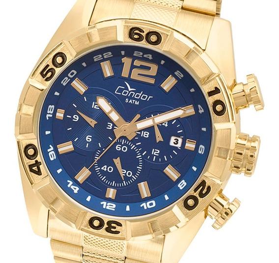 Relógio Masculino Dourado Azul Condor Covd33aa/4a Original