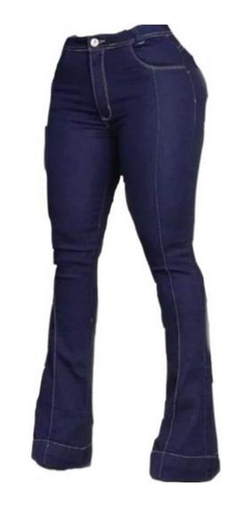 Calça Jeans Feminina Cintura Alta Flare Cós Alto