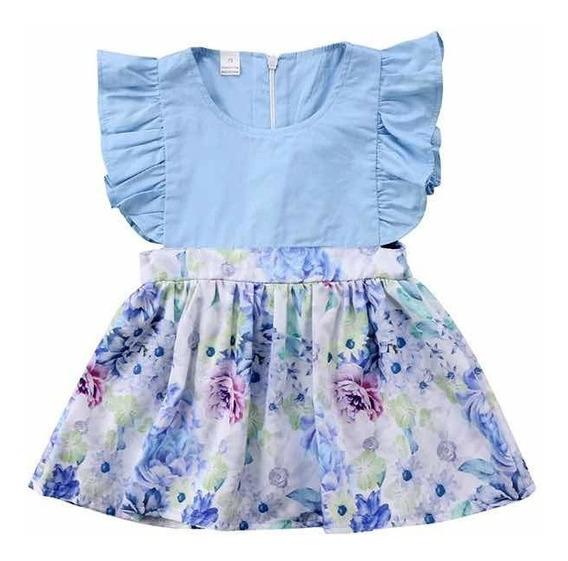 Ropa Para Niña Moda Bebé Hermoso Vestidito Casual Azul Estampado Floral