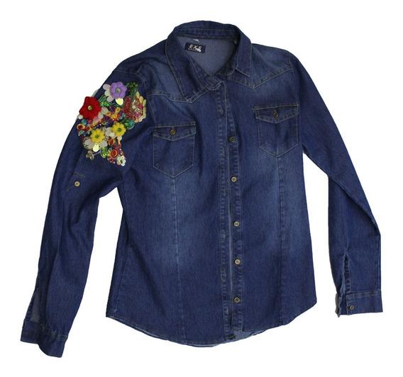 Camisa Jean Mujer Exs C/bordado A Mano (2615)