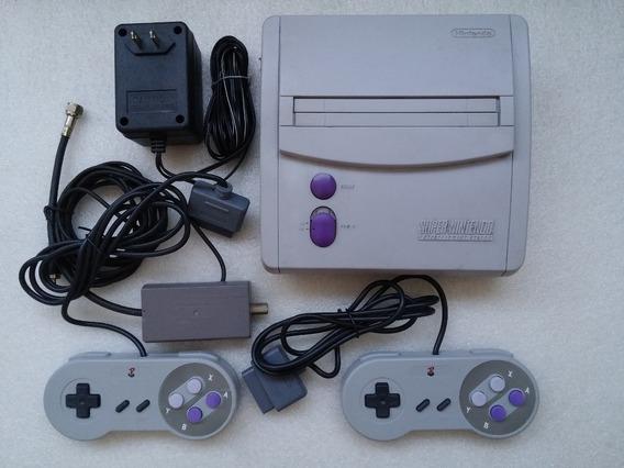 Super Nes Console + 2 Controles Novos + A/v Stéreo + Fonte