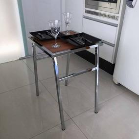 Mesa Pequena Quadrada Cromada Para Cozinhas De Apartamento