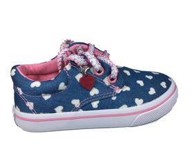Tênis Infantil Meninas Jeans Starzinho Com Cadarço Coração