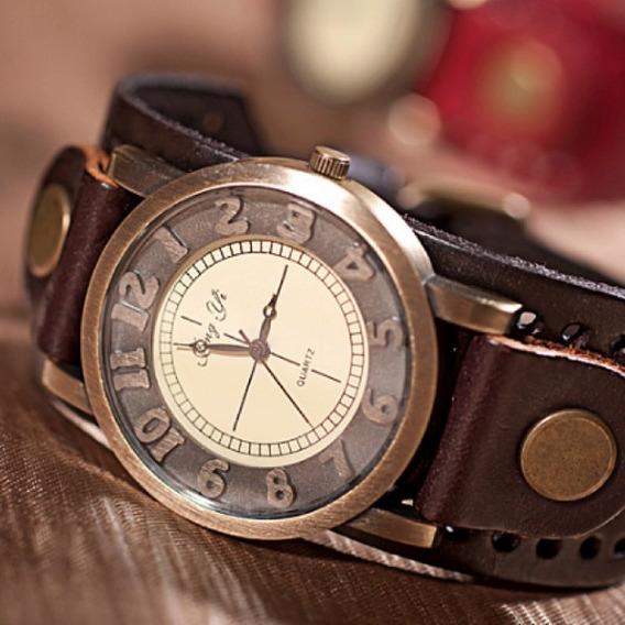 Relógio Masculino Vintage Couro Promoção Hoje Black Friday