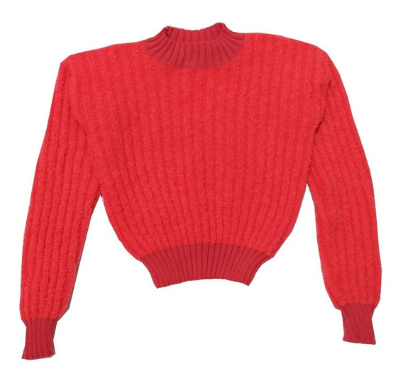 Sweater Top Corto Abrigado - Bucle Dama Moda