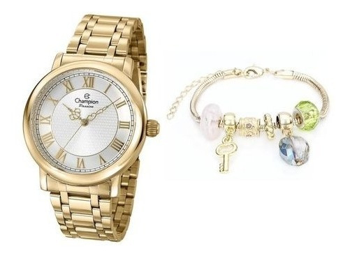 Kit Relógio Champion Feminino Com Colar E Brincos Cn29883j