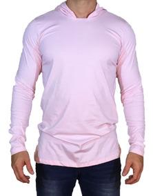 Camisa Oversized Longline Manga Longa Masculina Capuz