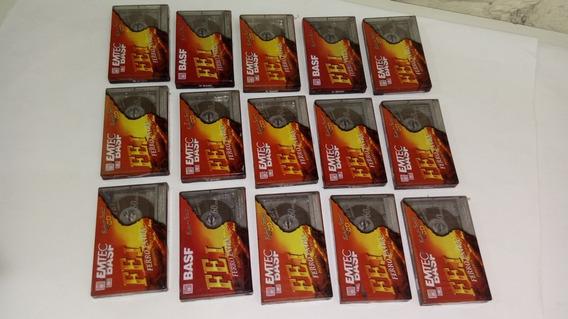 15 Fitas Cassete K7 Virgem Emtec Basf Fe I 60min - Lacradas