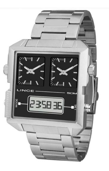Relógio Lince Masculino Man4587s P1sx Dualtime Analógico Dig