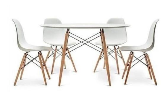 Mesa Comedor Eames Blanco 120cm + 4 Sillas Excelente Precio!