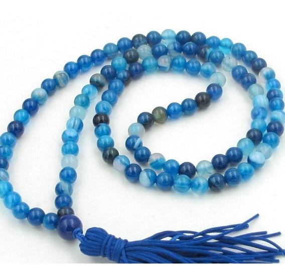 Collar Pulsera Piedra Preciosa 6mm Azul Ágata