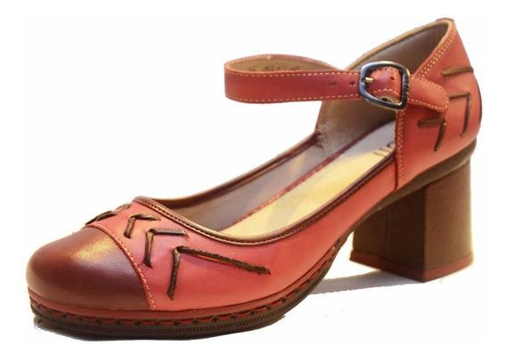 Zapato De Cuero Con Taco De Mujer Cj0001 Cuotas S/ Interes