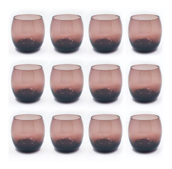 Copa Copon Vaso Vidrio Whisky Mikonos Color Borravino X 12 Sin Pie Vino Dubai