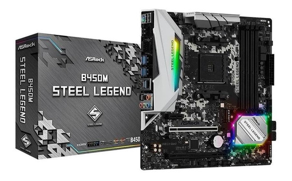 Motherboard Asrock B450m Steel Legend 64gb Usb 3.1 Hdmi