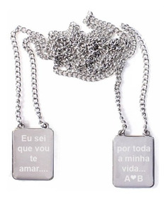 Escapulário Aço Frase Mensagem Nome Dia Mães Namorados Pais