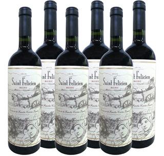 Vino Saint Felicien Malbec 750ml Caja X6 Pack 6 Botellas