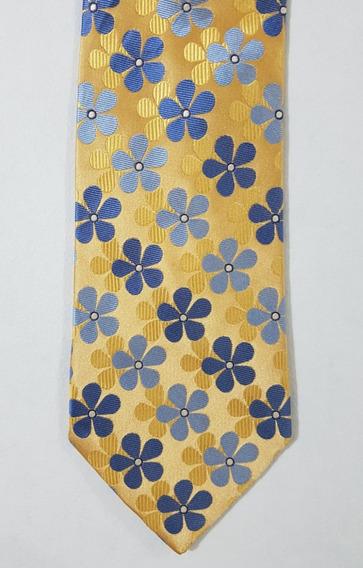 Corbata Color Oro Con Flores Azules Corb407
