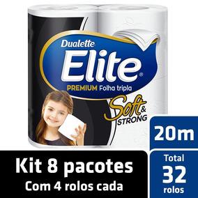Kit Papel Higiênico Elite Folha Tripla 8 Pacotes - 32 Rolos