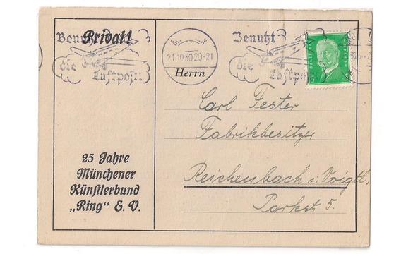Alemania Tarjeta Comercial Circ. Aérea Año 1930