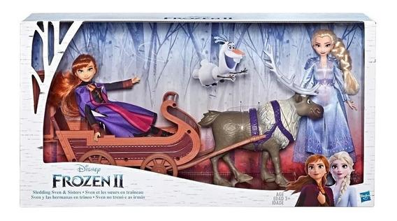 Elsa Y Anna Con Sven Y Su Trineo Frozen 2 Original Hasbro