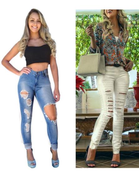Kit 2 Calças Jeans Feminina Cintura Alta Rasgada Dins Lycra