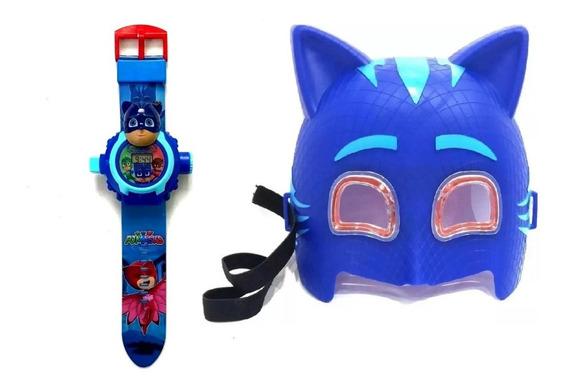 Kit Menino Gato Relógio Digital Mais Mascara De Led