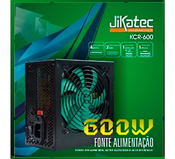 Fonte Atx 600w Real Silenciosa Jikatec Kcr-600 100-240v