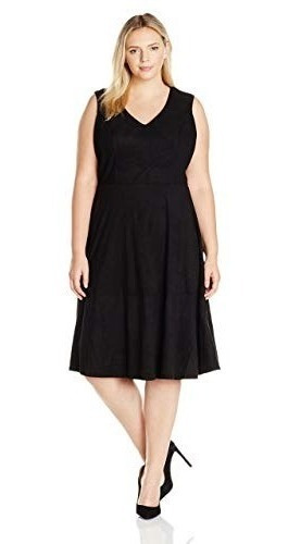Vestido Básico Negro Gamuzado Talle Grande 16 De Usa- 7621