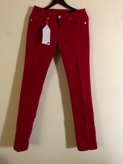 Pantalon Vertigo Mezclilla Rojo