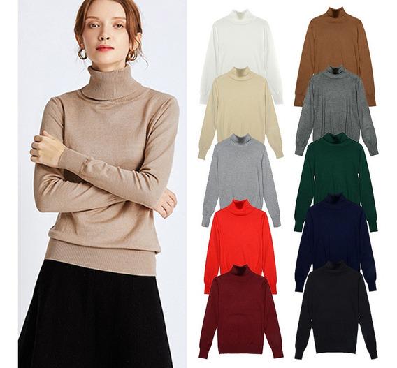 Moda Invierno Mujer Suéter Prendas De Punto Cuello De