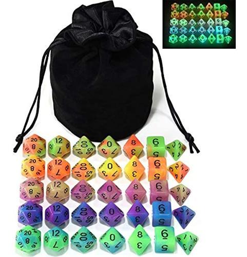 Imagen 1 de 7 de Double Color Glow In The Dark Dice Set  Pieces Polyhedr...