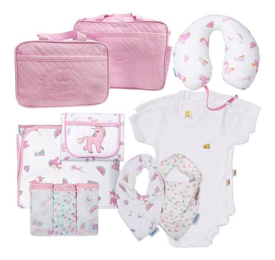Kit 12 Bolsa Maternidade Enxoval Bebê Antialérgico Unicórnio