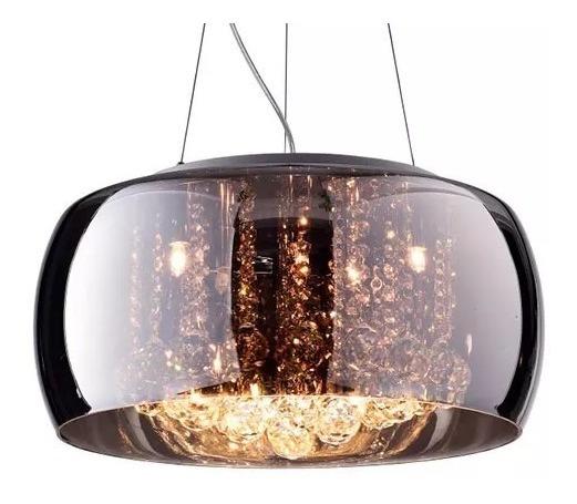Lustre Pendente Moderno 50cm Vidro Cromado E Cristal Pd001