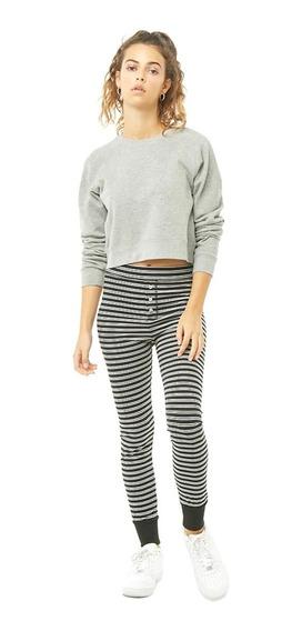 Forever 21 Pantalon Pijama Joggers Leggins Negro Rayas Blancas