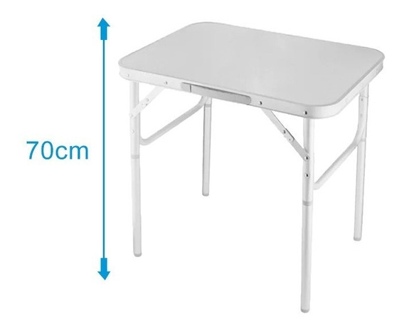 Mesa Dobravel Aluminio 90 X 60cm Vira Maleta Para Camping