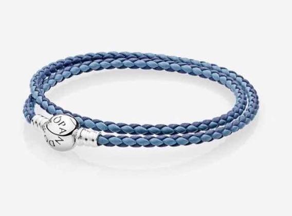 Pulsera Collar Pandora De Piel Doble Nueva Dos Tonos Azules