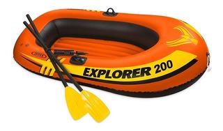 Lancha Explorer 200 Intex Remos Con Bomba Manual