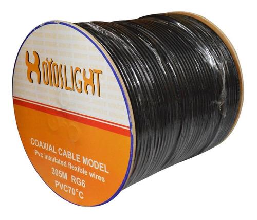 Cable Coaxial Carreto Rg 6 Fino Al 90% Negro X 305 Mts