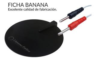 1 Electrodo De Goma Electroestimulación Ficha Banana De 10cm