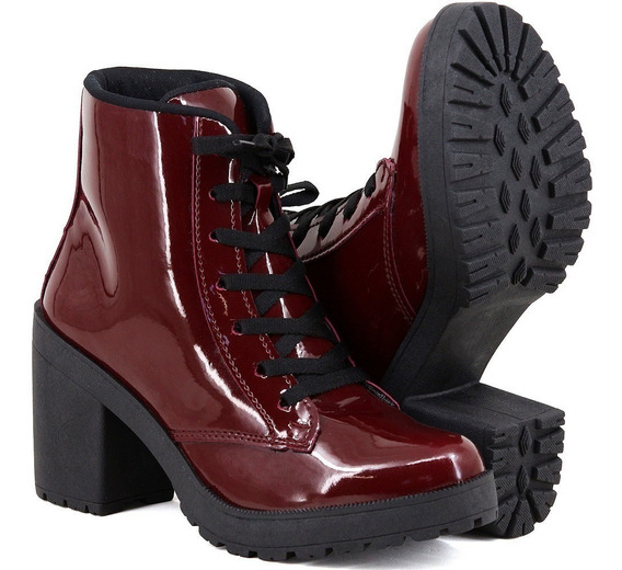 Bota Feminina Salto Grosso Tratorado Verniz Coturno Sapato