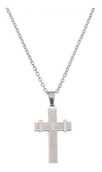 Colar Crucifixo Com Pai Nosso Inox