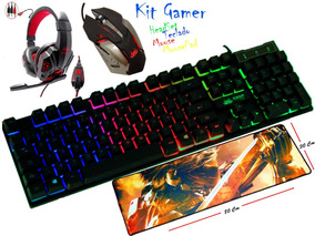Kit Teclado Mouse Headset Mousepad Pc Com Led